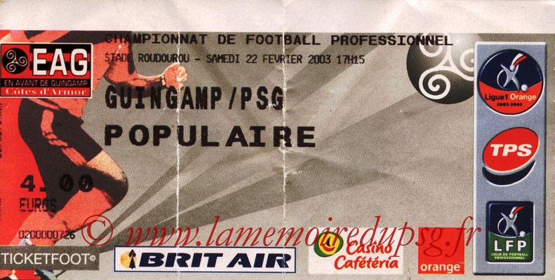 Tickets  Guingamp-PSG  2002-03