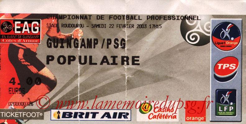 Tickets  Guingamp-PSG  2002-03