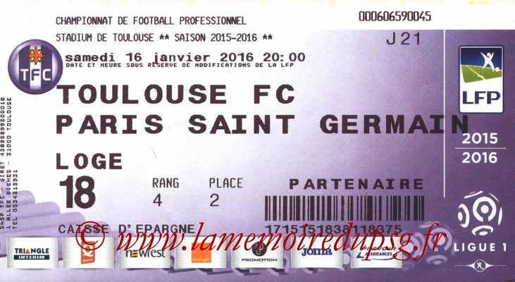 Ticket  Toulouse-PSG  2015-16