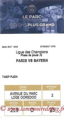 Tickets  PSG-Bayern  2017-18