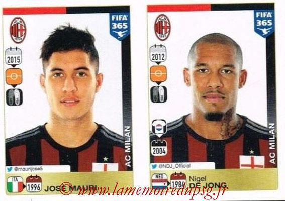 2015-16 - Panini FIFA 365 Stickers - N° 590-591 - José MAURI + Nigel DE JONG (Milan AC)