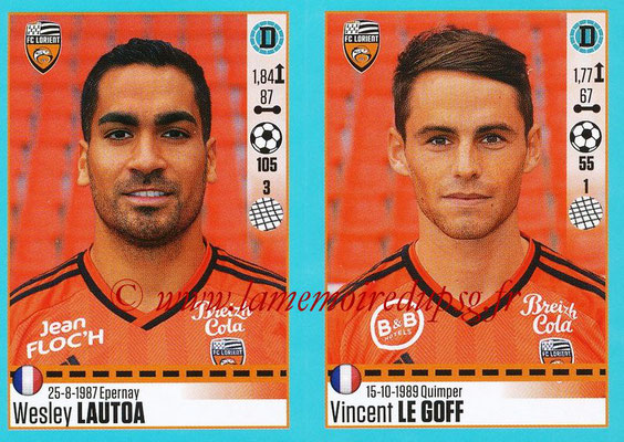 2016-17 - Panini Ligue 1 Stickers - N° 318 + 319 - Wesley LAUTOA + Vincent LE GOFF (Lorient)