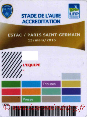 Badge presse  Troyes-PSG  2015-16