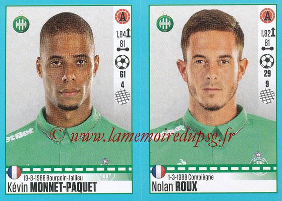 2016-17 - Panini Ligue 1 Stickers - N° 796 + 797 - Kévin MONNET-PAQUET + Nolan ROUX (Saint-Etienne)
