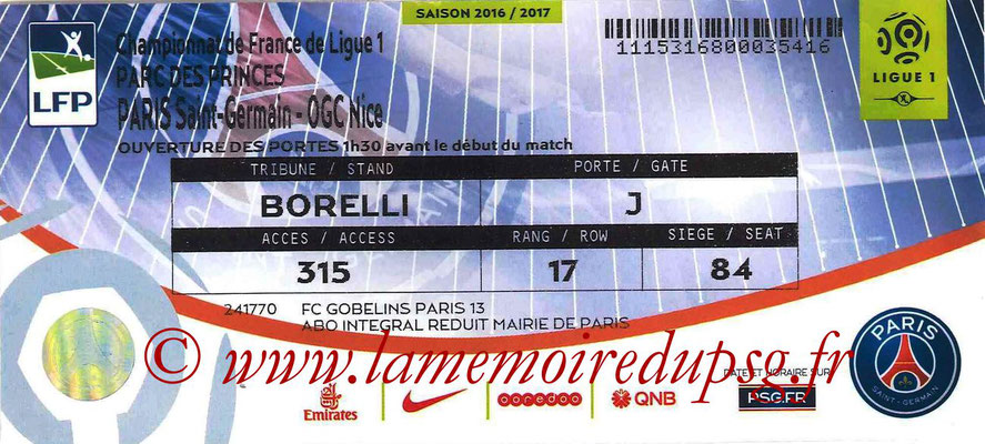 Tickets  PSG-Nice  2016-17