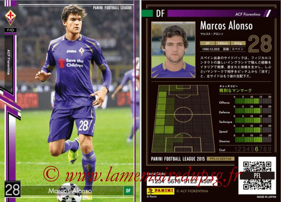 Panini Football League 2015 - PFL12 - N° 022 - Marcos ALONSO (ACF Fiorentina)