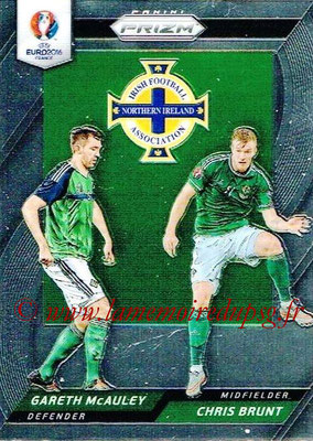 Euro 2016 Panini Prizm - N° CCD-19 - Gareth McAULEY + Chris BRUNT (Irlande du Nord) (Country Combinaions Duals)