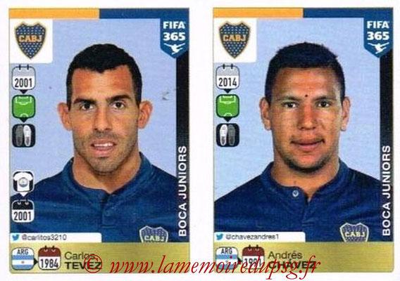 2015-16 - Panini FIFA 365 Stickers - N° 099-100 - Carlos TEVEZ + Andres CHAVEZ (CA Boca Juniors)