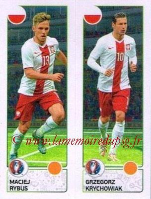 Panini Euro 2016 Stickers - N° 316 - Maciej RYBUS + Grzegorz KRYCHOWIAK (Pologne)