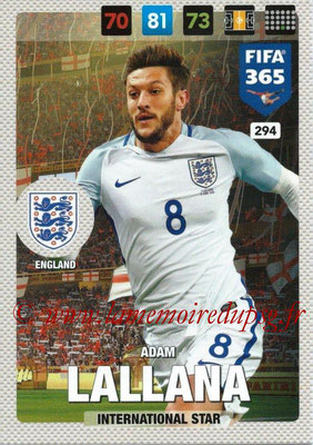 2016-17 - Panini Adrenalyn XL FIFA 365 - N° 294 - Adam LALLANA (Angleterre) (International Star)