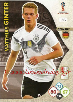 2018 - Panini FIFA World Cup Russia Adrenalyn XL - N° 156 - Matthias GINTER (Allemagne)