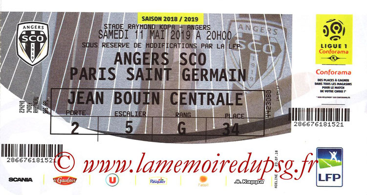 Ticket  Angers-PSG  2018-19