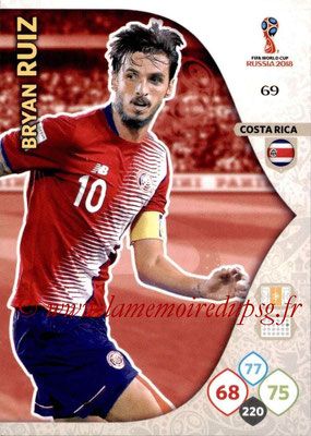 2018 - Panini FIFA World Cup Russia Adrenalyn XL - N° 069 - Bryan RUIZ (Costa Rica)