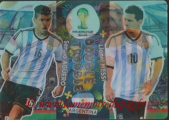 2014 - Panini FIFA World Cup Brazil Adrenalyn XL - N° 412 - Sergio AGUERO & Lionel MESSI (Agentine) (Double trouble)