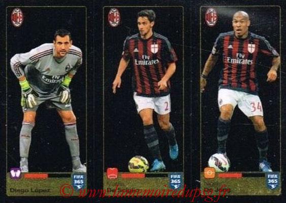 2015-16 - Panini FIFA 365 Stickers - N° 593-594-595 -  Diego LOPEZ + Mattia DE SCIGLIO - Nigel DE JONG (Milan AC)