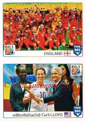 2015-16 - Panini FIFA 365 Stickers - N° 060-061 - Angleterre + Carli LLOYD (Golden Ball) (FIFA Women's World Cup)