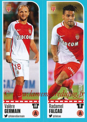 2016-17 - Panini Ligue 1 Stickers - N° 480 + 481 - Valère GERMAIN + Radamel FALCAO (Monaco)
