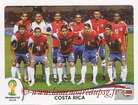 2014 - Panini FIFA World Cup Brazil Stickers - N° 280 - Equipe Costa Rica