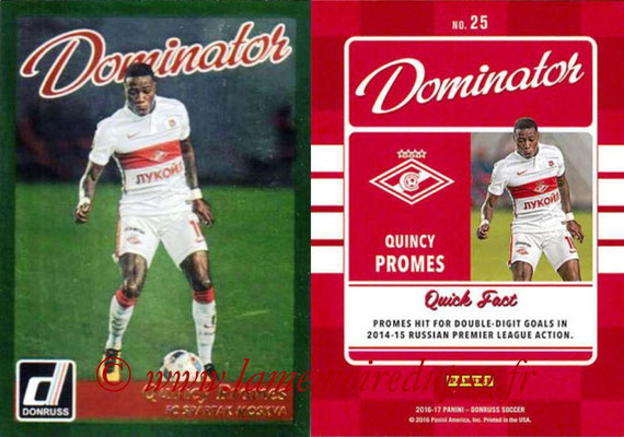 2016 - Panini Donruss Cards - N° D25 - Quincy PROMES (FC Spartak Moscou) (Dominator)