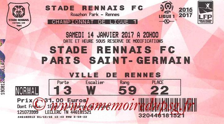 Tickets  Rennes-PSG  2016-17