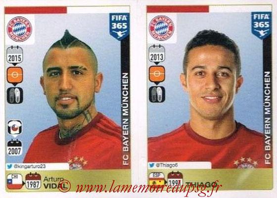 2015-16 - Panini FIFA 365 Stickers - N° 472-476 - Arturo VIDAL + THIAGO (FC Bayern Munich)
