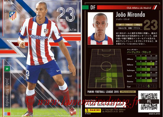 Panini Football League 2015 - PFL12 - N° 045 - Joao MIRANDA (Atletico Madrid) (Star)