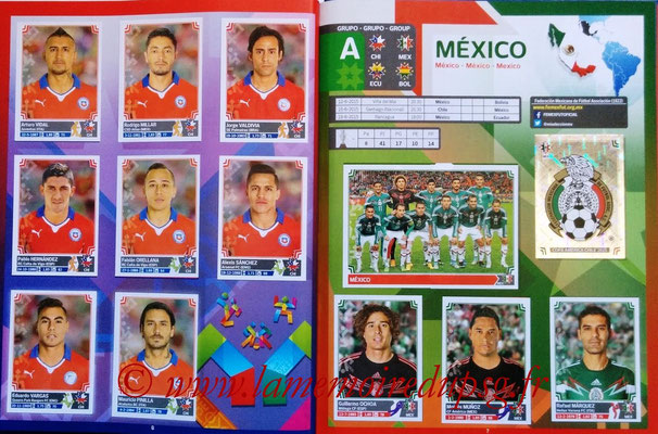 Panini Copa America Chile 2015 Stickers - Pages 06 et 07 - Chili et Mexique