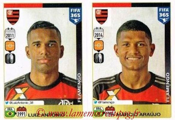2015-16 - Panini FIFA 365 Stickers - N° 200-201 - Luiz ANTONIO + Marcio ARAUJO (CR Flamengo)