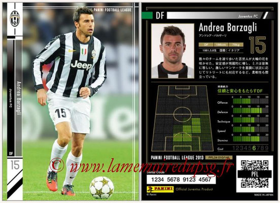 Panini Football League 2013 - PFL04 - N° 010 - Andrea BARZAGLI (Juventus FC)