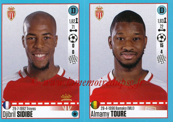 2016-17 - Panini Ligue 1 Stickers - N° 492 + 493 - Djibril SIDIBE + Almamy TOURE (Monaco)