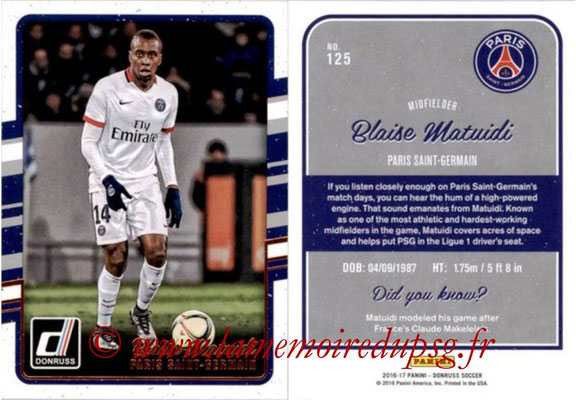 2016 - Panini Donruss Cards - N° 125 - Blaise MATUIDI (Paris Saint-Germain)