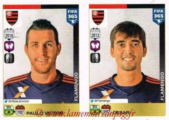 2015-16 - Panini FIFA 365 Stickers - N° 192-193 - Paulo VICTOR + CESAR (CR Flamengo)