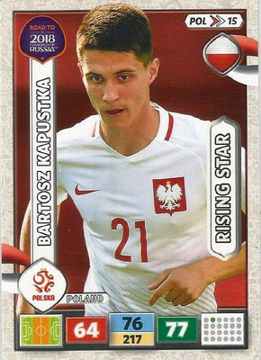 2018 - Panini Road to FIFA World Cup Russia Adrenalyn XL - N° POL15 - Bartosz KAPUSTKA (Pologne) (Rising Star)