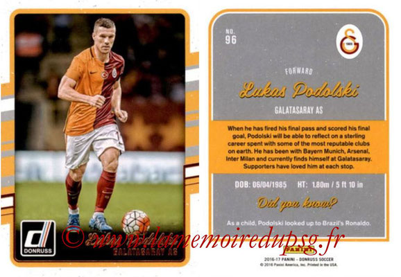 2016 - Panini Donruss Cards - N° 096 - Lukas PODOLSKI (Galatasaray AS)