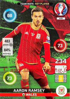 Panini Euro 2016 Cards - N° 449 - Aaron RAMSEY (Pays de Galles) (Key Player)