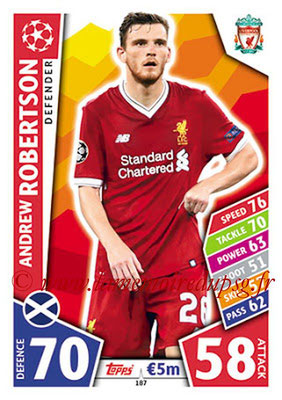 2017-18 - Topps UEFA Champions League Match Attax - N° 187 - Andrew ROBERTSON (Liverpool FC)