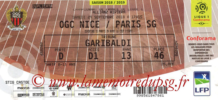 Ticket  Nice-PSG  2018-19