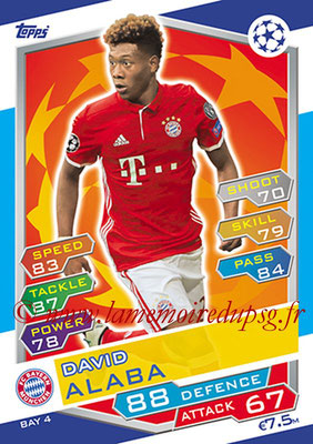 2016-17 - Topps UEFA Champions League Match Attax - N° BAY4 - David ALABA (FC Bayern Munich)