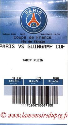 Tickets  PSG-Guingamp  2017-18