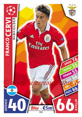 2017-18 - Topps UEFA Champions League Match Attax - N° 211 - Franco CERVI (SL Benfica)