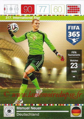 2015-16 - Panini Adrenalyn XL FIFA 365 - N° 317 - Manuel NEUER (Allemagne) (International Star)
