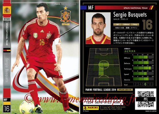 Panini Football League 2014 - PFL08 - N° 120 - Sergio BUSQUETS (Espagne) (Star)