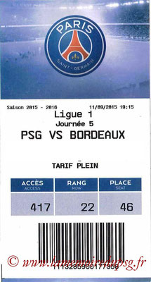 Tickets  PSG-Bordeaux  2015-16