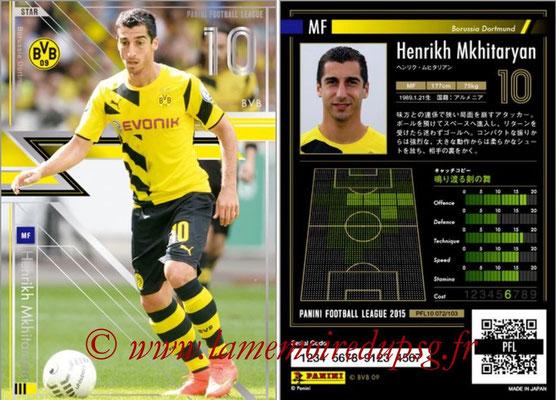 Panini Football League 2015 - PFL10 - N° 072 - Henrikh MKHITARYAN (Borussia Dortmund) (Star)