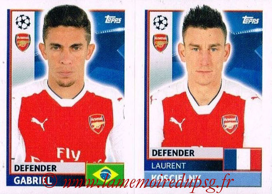 2016-17 - Topps UEFA Champions League Stickers - N° ARL 8-9 - Laurent KOSCIELNY + GABRIEL (Arsenal FC)