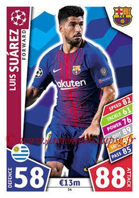 2017-18 - Topps UEFA Champions League Match Attax - N° 034 - Luis SUAREZ (FC Barcelone)