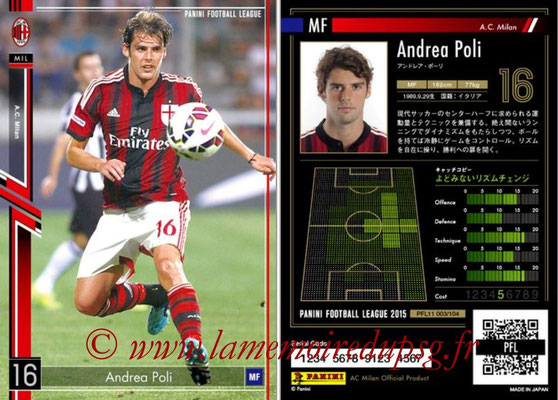 Panini Football League 2015 - PFL11 - N° 003 - Andrea POLI (Milan AC)