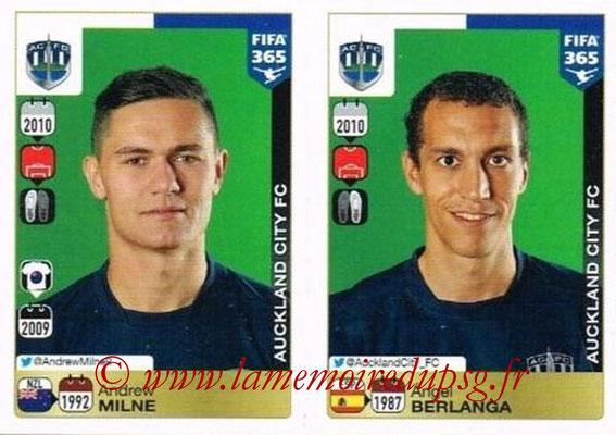 2015-16 - Panini FIFA 365 Stickers - N° 674-675 - Andrew MILNE + Ángel BERLANGA (Auckland City FC)