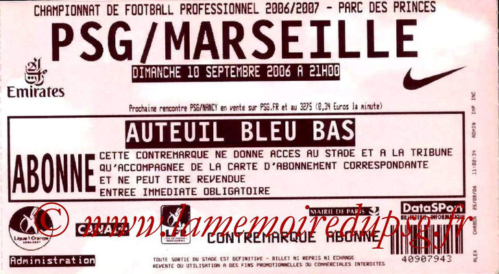 Tickets  PSG-Marseille  2006-07