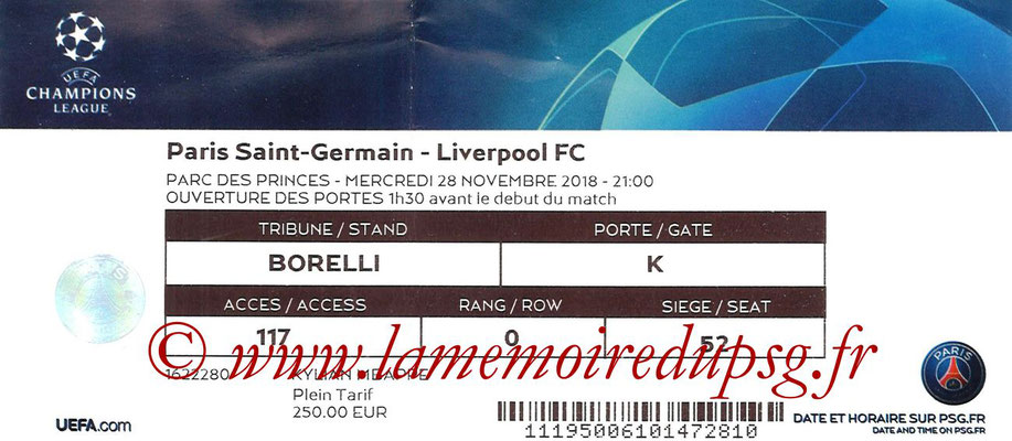 Ticket  PSG-Liverpool  2018-19